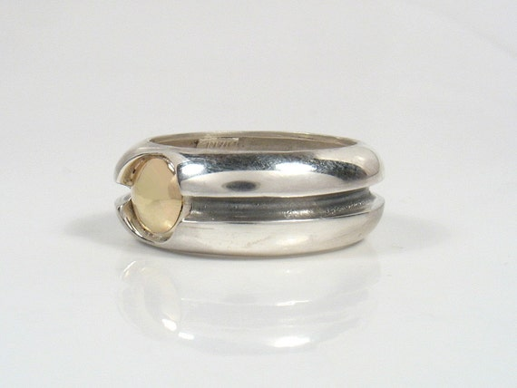Black River Ring - wide silver band with gold dome