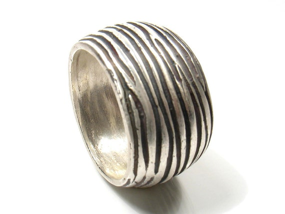 Strength tree ring-Half round silver band oxidized and partly polished