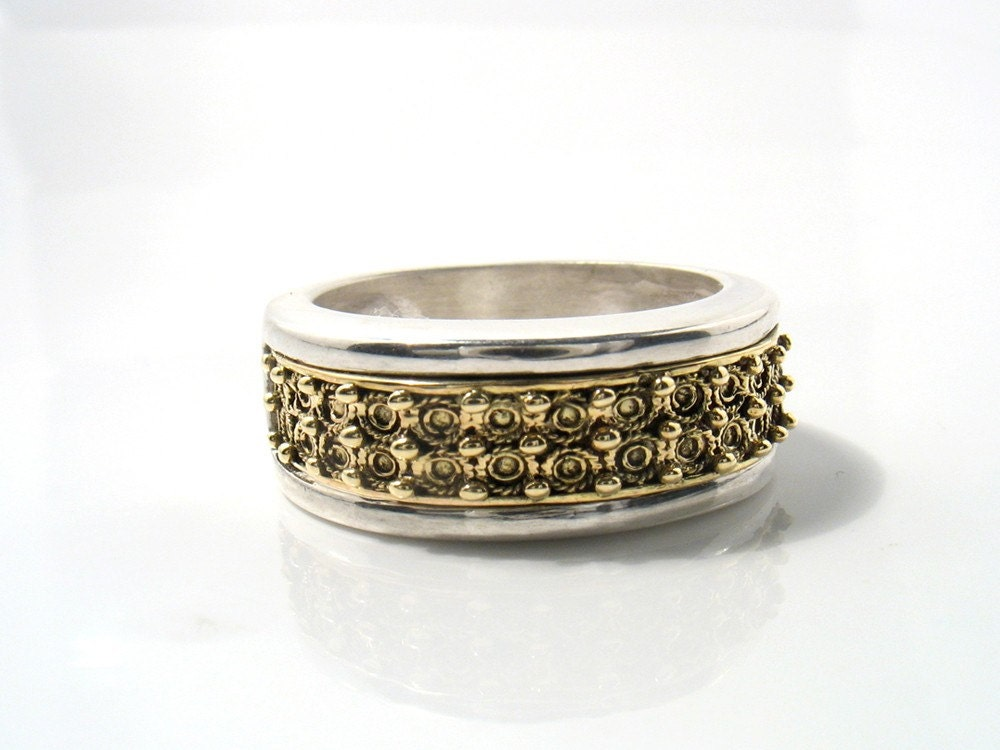 forever together ring silver band with gold filigree ethnic