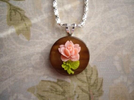 Mounted Single Rose Necklace