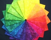 Hand Dyed Cotton Quilt Fabric, SUMMER IN SICILY colorwheel, 18 Fat Quarters in Bright Jewel Tones