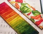 Hand Dyed Fabric Bookmark, SANTA FE, Pieced and Quilted, Chili Pepper Backing Fabric, FREE Shipping