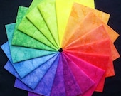 Hand Dyed Fabric, Cotton, JELLY BEANS colorwheel, 18 Fat Quarters in Bright Pastels