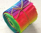 Fabric Jelly Roll, BRIGHT, Hand Dyed Fabric in Rainbow Colors, 36 Strips 2-1/2 inch x 22