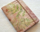 Batik Covered Pocket Memo Book, Refillable Mini Composition Notebook Cover, Natural Green Ferns