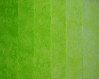 Hand Dyed Cotton Quilt Fabric, BRIGHT LIME Gradation, 6 Fat Quarters in Fresh Greens