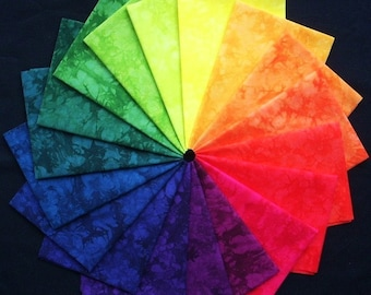 Hand Dyed Fabric, 18 Fat Quarters, STAINED GLASS colorwheel, Rainbow of Quilting Cotton