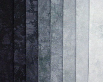 Hand Dyed Cotton Quilt Fabric, ONYX gradation, 8 Fat Quarters in Black and Gray