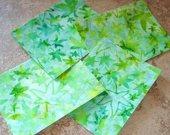 Beautiful Batik Fabric Note Cards, Set of 4, Spring Green