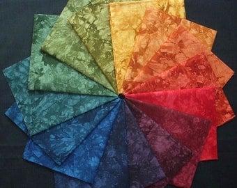 Hand Dyed Fabric, CORNUCOPIA colorwheel, 15 Fat Quarters Quilting Cotton