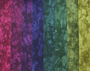 Hand Dyed Cotton Quilt Fabric, FRUIT of the VINE medley, 8 Fat Quarters in Rich Purples and Greens
