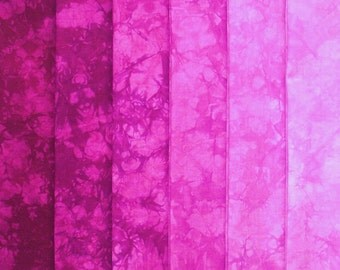 Hand Dyed Cotton Quilt Fabric, PURPLE PETUNIA gradation, 6 Fat Quarters in Red Violet