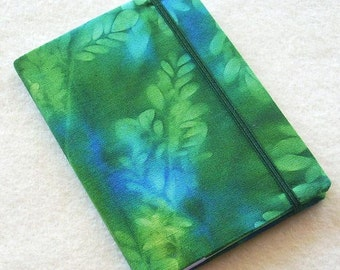 Batik Covered Pocket Memo Book, Refillable Mini Composition Notebook Cover in Green Leaf Sunprint
