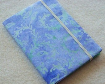Batik Covered Pocket Memo Book, Refillable Mini Composition Notebook Cover in Pastel Blue and Green