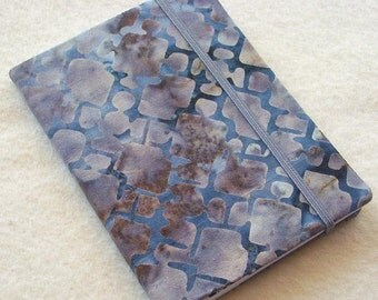 Batik Covered Pocket Memo Book, WROUGHT IRON, Refillable Mini Composition Notebook Cover in Grey Geometric