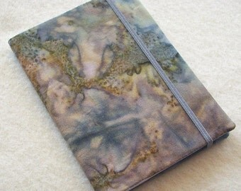Batik Covered Pocket Memo Book, GRANITE, Refillable Mini Composition Notebook Cover in Handpainted Brown and Gray