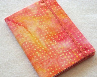Batik Covered Pocket Memo Book, Refillable Mini Composition Notebook Cover in Punchy Orange and Pink