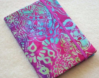 Batik Covered Pocket Memo Book, Refillable Mini Composition Notebook Cover in Hot Pink Paisley