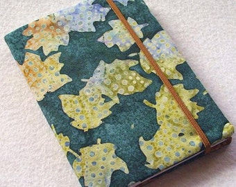 Batik Covered Pocket Memo Book, SPECKLED LEAVES, Refillable Mini Composition Notebook Cover