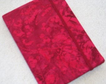 Batik Covered Pocket Memo Book, BLACK CHERRY, Refillable Mini Composition Notebook Cover in Mouthwatering Red