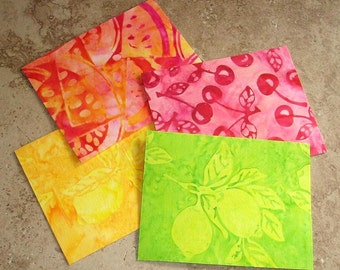 Note Cards, Set of 4, Beautiful Batik Fabric, FRESH FRUIT
