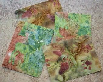 Note Cards, Set of 4, Beautiful Batik Fabric, NORTHWOODS