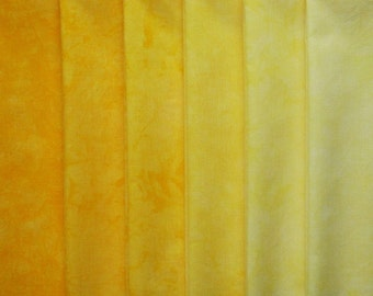 Hand Dyed Cotton Quilt Fabric, DAYLILY  gradation, 6 Fat Quarters in Bright Golden Yellow