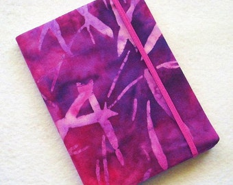 Batik Covered Pocket Memo Book, Refillable Mini Composition Notebook Cover in Regal Purples