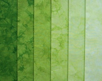 Hand Dyed Fabric, BAMBOO gradation, Cotton Quilt Fabric, 6 Fat Quarters in Grassy Green