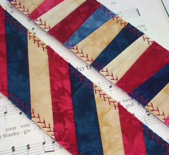 Hand Dyed Fabric Bookmark, AMERICANA, Pieced and Quilted, Patriotic Patchwork Backing Fabric, FREE Shipping