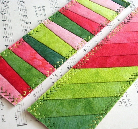 Hand Dyed Fabric Bookmark, SWEET SUMMERTIME, Pieced and Quilted, Watermelon Backing Fabric, FREE Shipping