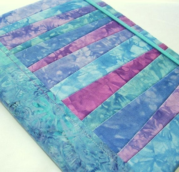 Hand Dyed Fabric Journal Cover, BLUE LAGOON, Pieced and Quilted, Watery Batik Backing Fabric