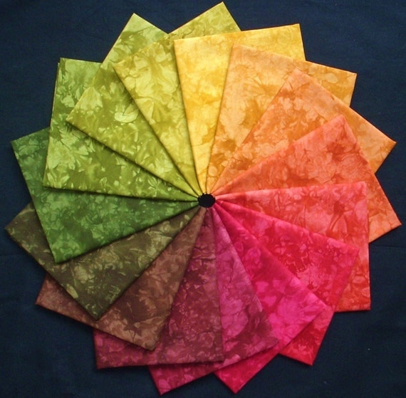 Hand Dyed Fabric, WOODLANDS colorwheel, 15 fat quarters in Autumn Colors Quilt Cotton