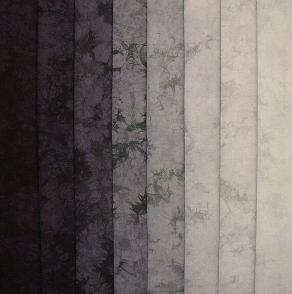 Hand Dyed Cotton Quilt Fabric, OBSIDIAN gradation, 8 Fat Quarters in Black and Gray
