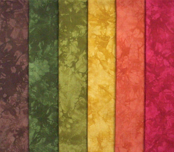 Hand Dyed Cotton Quilt Fabric, TURNING LEAVES medley, 6 Fat Quarters in Rich Autumn Colors