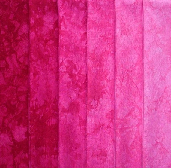 Hand Dyed Cotton Quilt Fabric, RASPBERRY gradation, 6 Fat Quarters in Deep, Cool Red