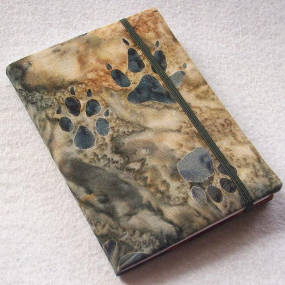 Batik Covered Pocket Memo Book, PAW PRINTS, Refillable Mini Composition Notebook Cover in Earthy Brown and Gray