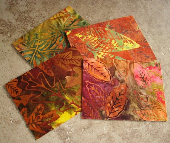 Note Cards, Set of 4, Beautiful Batik Fabric, FIERY FOLIAGE