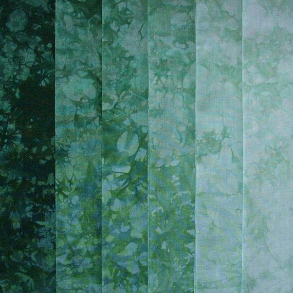 Hand Dyed Cotton Quilt Fabric, EVERGREEN gradation, 6 Fat Quarters in Cool Green