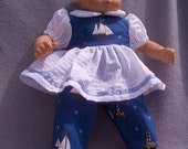 Sailor Baby  dress, overalls, and hat for Bitty