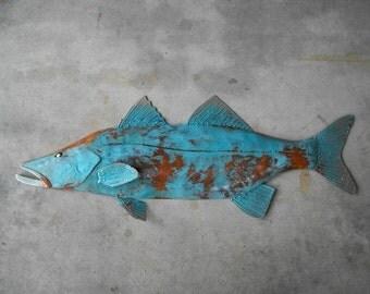 Snook Metal Fish Wall sculpture Tropical Beach Coastal Art