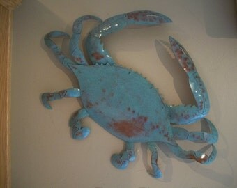 Blue Crab Metal Wall Art Sculpture Tropical Beach Coastal