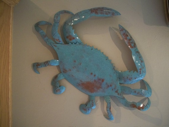 Blue Crab Metal Wall Art Sculpture Tropical Beach Coastal