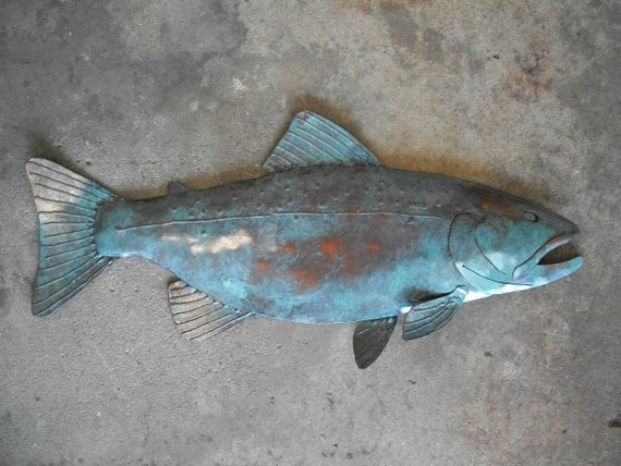 Fish Trout Metal Wall  Sculpture Lodge Cottage Lake Cabin Art