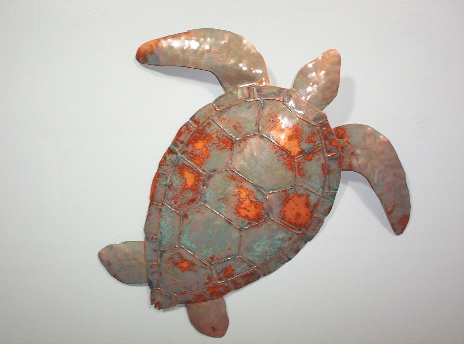 Sea turtle metal wall sculpture tropical by sallenbachfishart for Tropical metal wall art