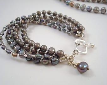 Grey Skies Freshwater 4 Strand Pearl Bracelet