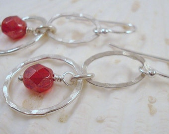 Cherry Red and Hammered Rings