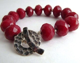 Deep Glorious Red and Hammered Silver Bracelet