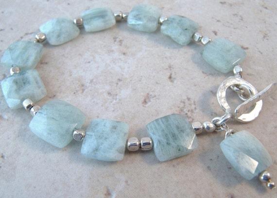 Natural Aquamarine Silver Bracelet