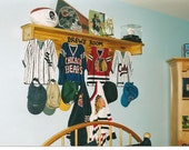 RESERVED LISTING four Jersey Custom Wall Hangings with Shelf and Pegs